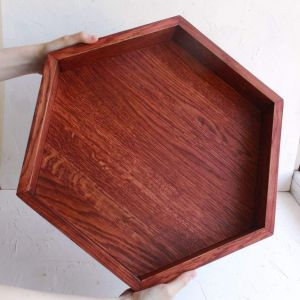 Wooden hexagon serving tray