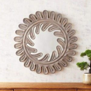 Wooden home décor mirror