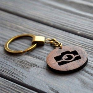 Wooden keychain camera
