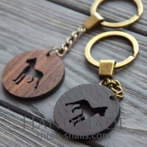 Wooden keychain dog