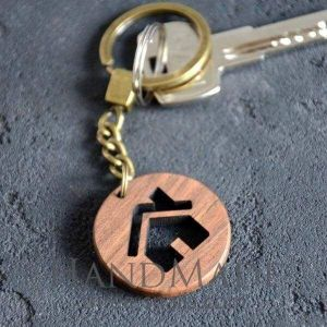 Wooden keychain home