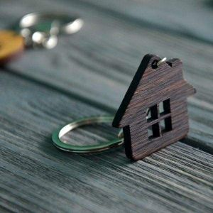 Wooden keychain house