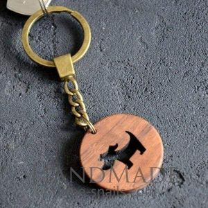 Wooden keychain puppy