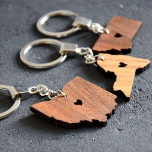 Wooden keychain USA