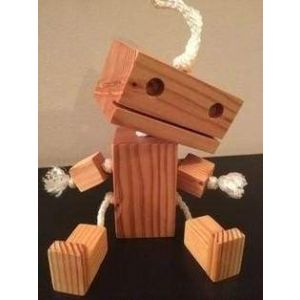Wooden toy cute robot