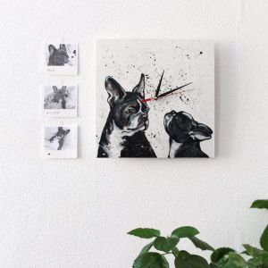 "Wooden wall clock ""Bulldog"""