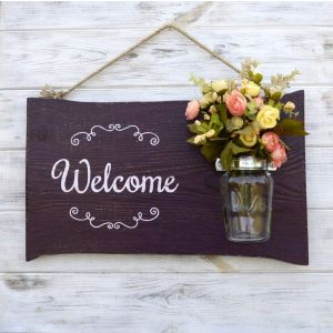 "Wooden welcome sign ""Hospitality"""