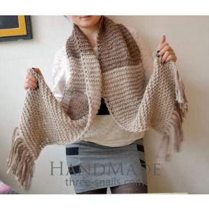 Wool scarf in beige - brown color
