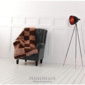 "Wool sofa throw in brown geometric pattern ""Сhequers"""