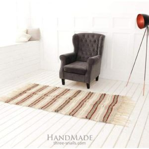 "Woven hallway runner rug ""Red stripes"""
