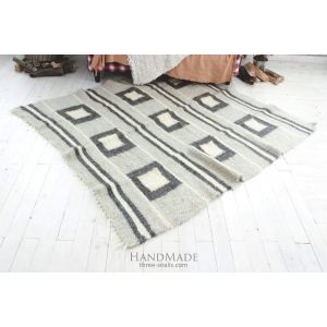 "Woven rug ""Squares and stripes"""