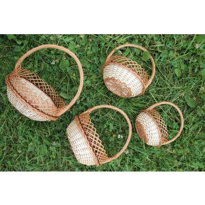 """Woven wicker baskets set """"Lace pattern"""""""