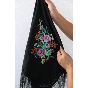 "Wrap shawl ""Flower embroidery"""