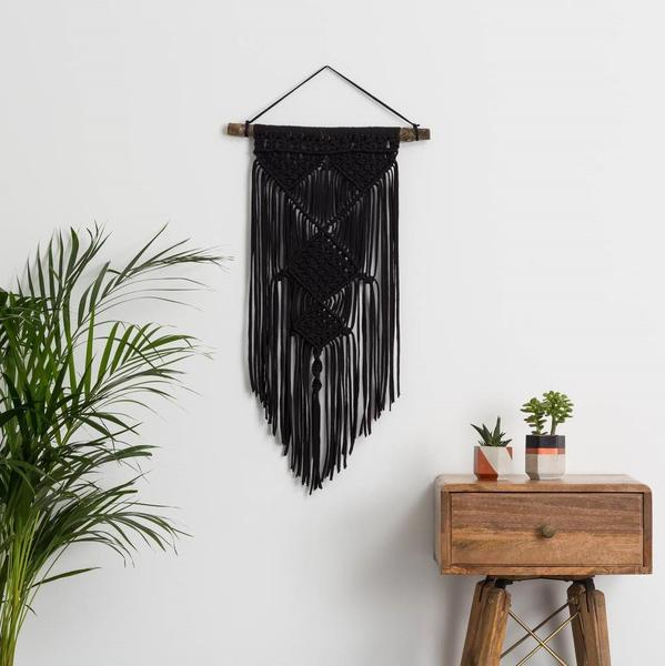 black yarn weaving decor