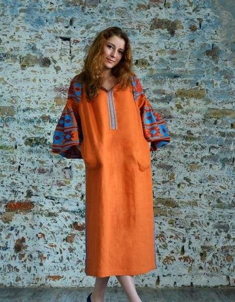 orange dress in Ukrainian style