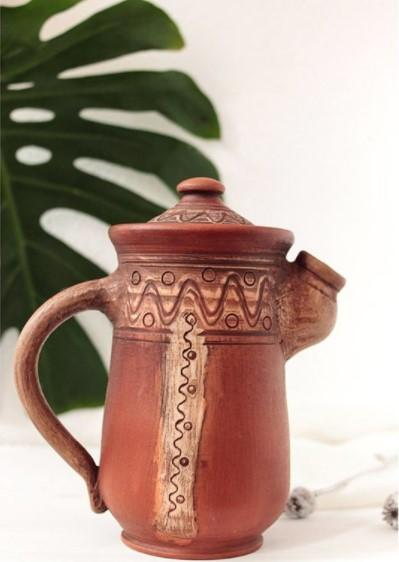 rustic clay pitcher