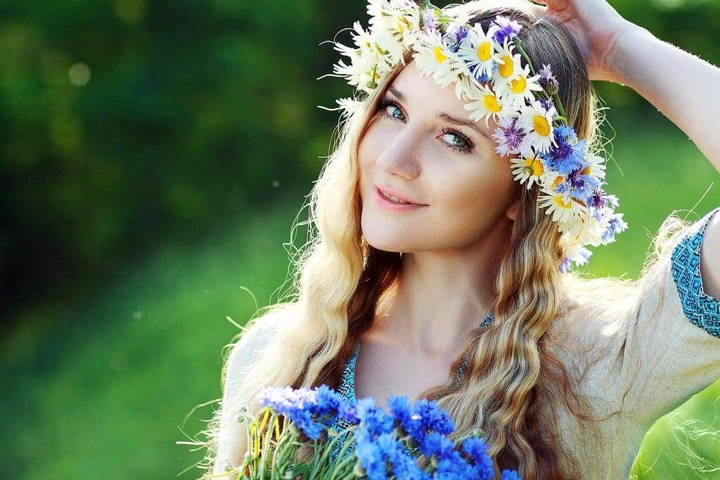 girl in a floral wreath