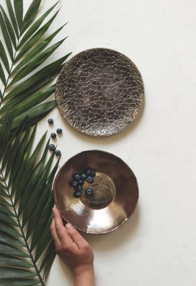 gold ceramic plate