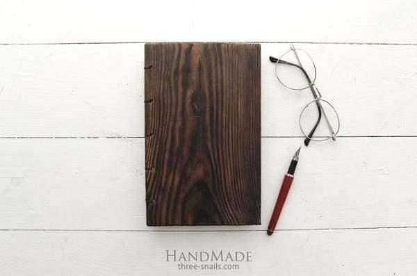 "Wooden notebook dark brown ""Natural wood"""