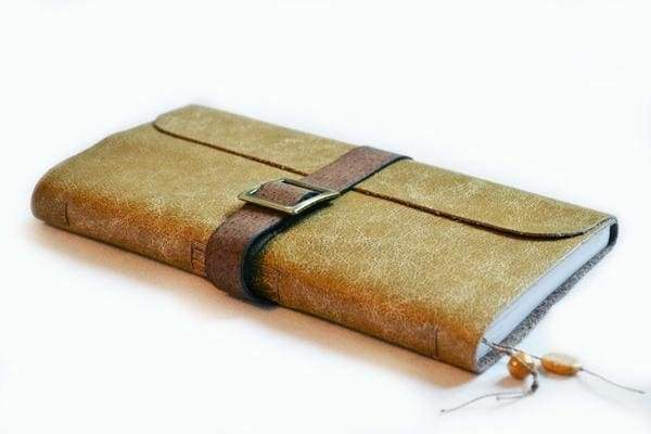 """Handmade leather journal on the strap """"Judy"""" Beige"""