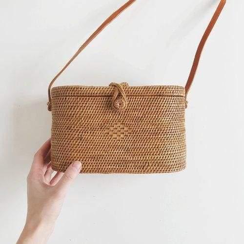 соломенная прямоугольная сумка