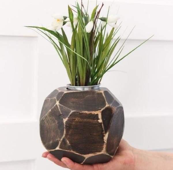Wood vase black
