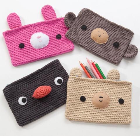 Crochet pencil bags
