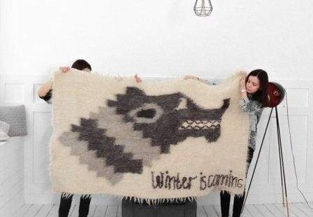 "Wool blanket with Direwolf ""Winter is coming"""